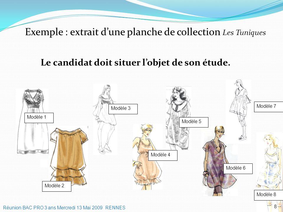 Exemple : extrait dune planche de collection Les Tuniques 8 Modèle 1 Modèle 2 Modèle 3 Modèle 6 Modèle 8 Modèle 4 Modèle 5 Modèle 7 Le candidat doit s