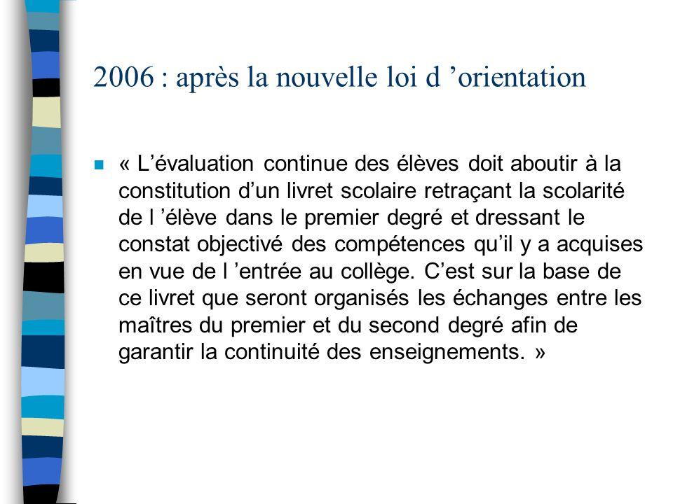2006 : après la nouvelle loi d orientation n « Lévaluation continue des élèves doit aboutir à la constitution dun livret scolaire retraçant la scolari