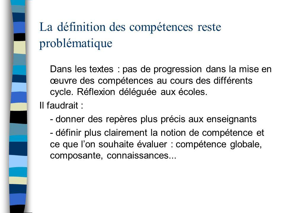 La définition des compétences reste problématique Dans les textes : pas de progression dans la mise en œuvre des compétences au cours des différents c