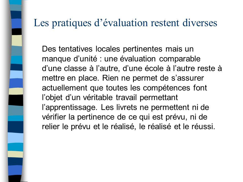 Les pratiques dévaluation restent diverses Des tentatives locales pertinentes mais un manque dunité : une évaluation comparable dune classe à lautre,