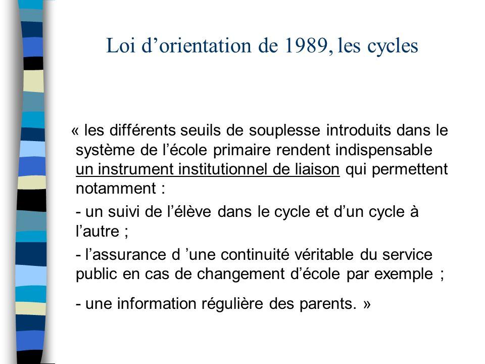 Loi dorientation de 1989, les cycles « les différents seuils de souplesse introduits dans le système de lécole primaire rendent indispensable un instr