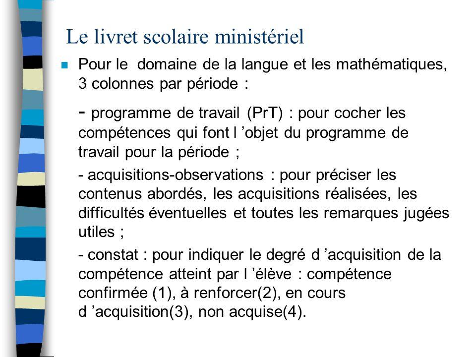 Le livret scolaire ministériel n Pour le domaine de la langue et les mathématiques, 3 colonnes par période : - programme de travail (PrT) : pour coche