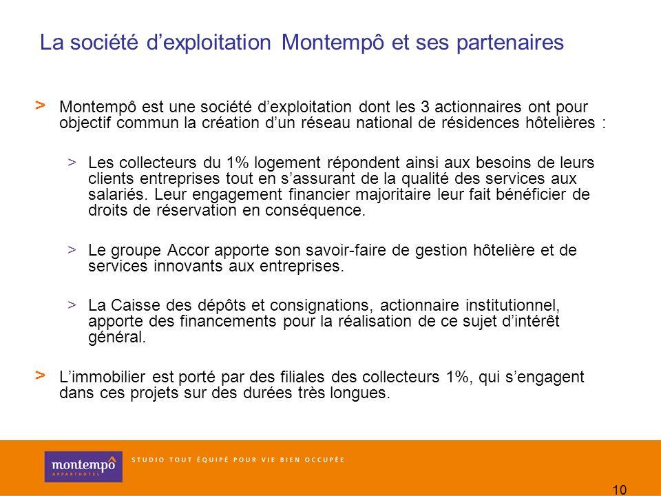 10 La société dexploitation Montempô et ses partenaires > Montempô est une société dexploitation dont les 3 actionnaires ont pour objectif commun la c