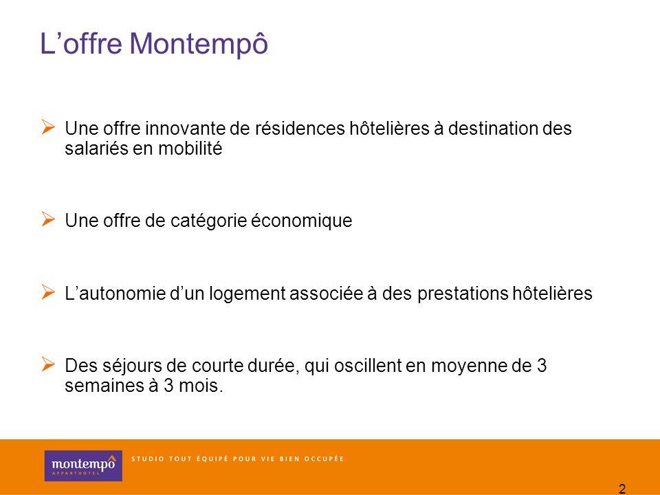 2 Loffre Montempô Une offre innovante de résidences hôtelières à destination des salariés en mobilité Une offre de catégorie économique Lautonomie dun