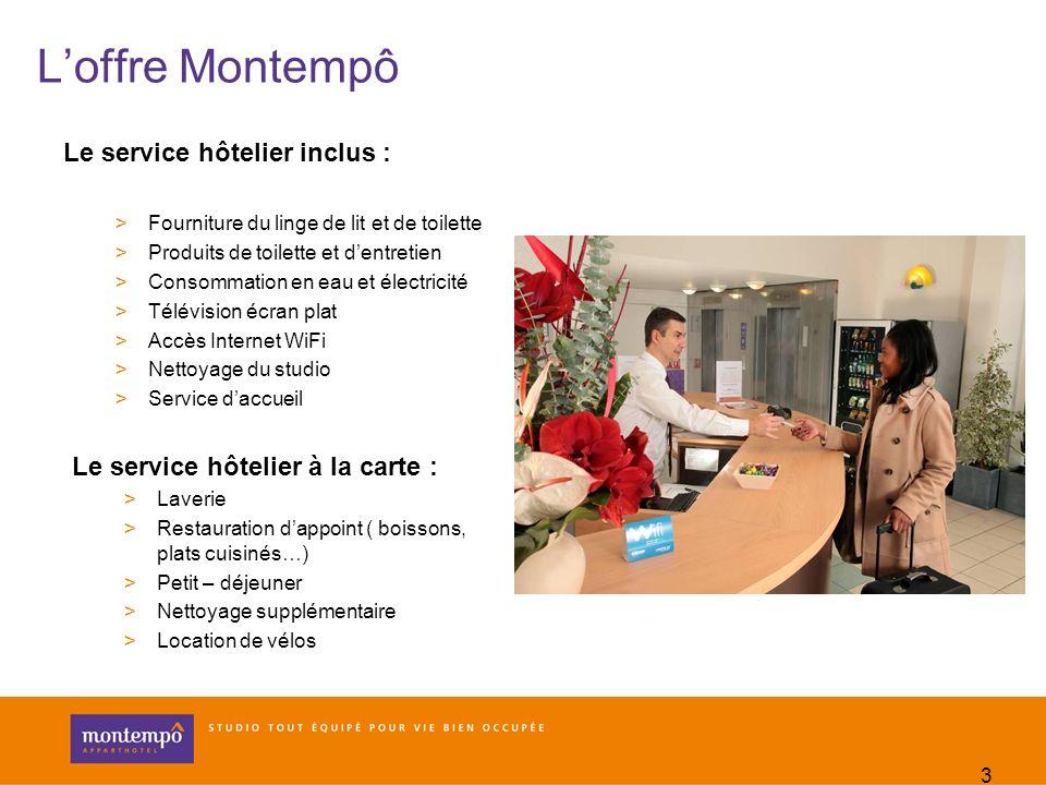 3 Loffre Montempô Le service hôtelier inclus : >Fourniture du linge de lit et de toilette >Produits de toilette et dentretien >Consommation en eau et