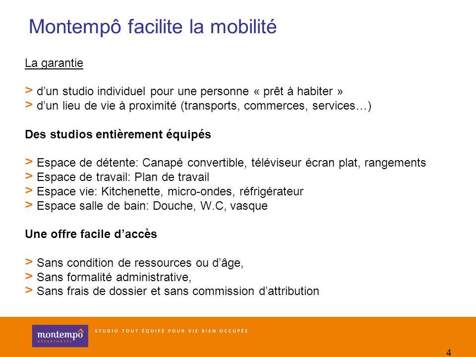 4 Montempô facilite la mobilité La garantie > dun studio individuel pour une personne « prêt à habiter » > dun lieu de vie à proximité (transports, co