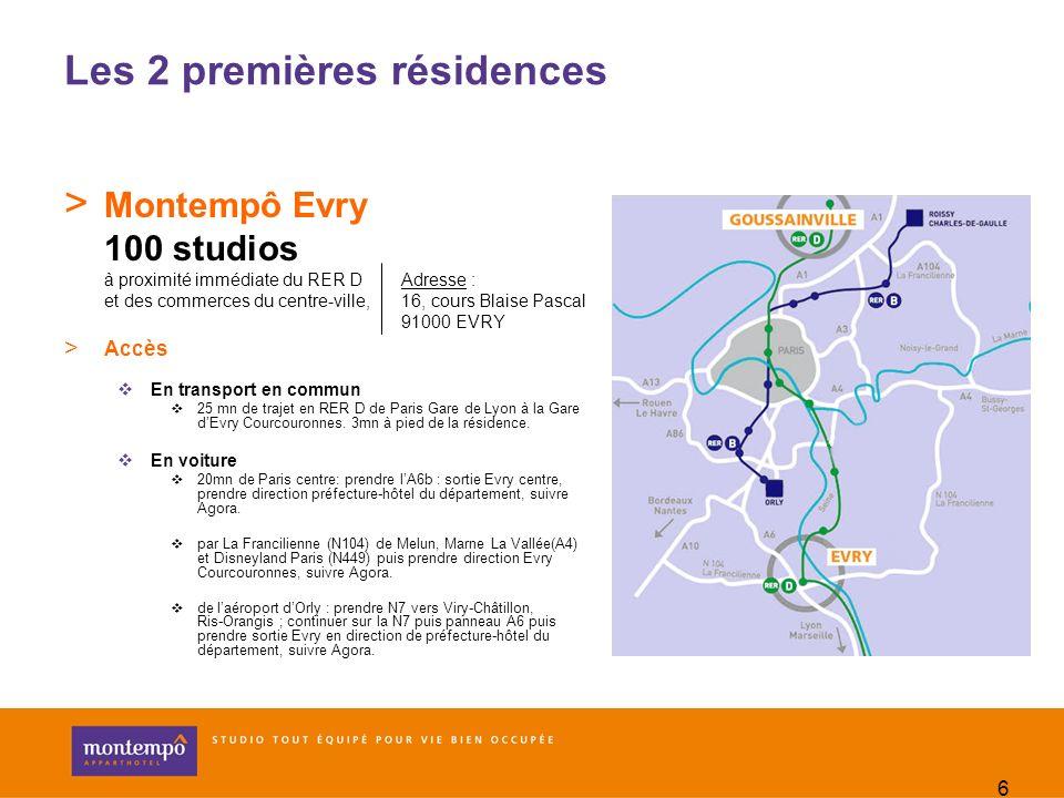 6 Les 2 premières résidences > Montempô Evry 100 studios à proximité immédiate du RER D et des commerces du centre-ville, > Accès En transport en comm