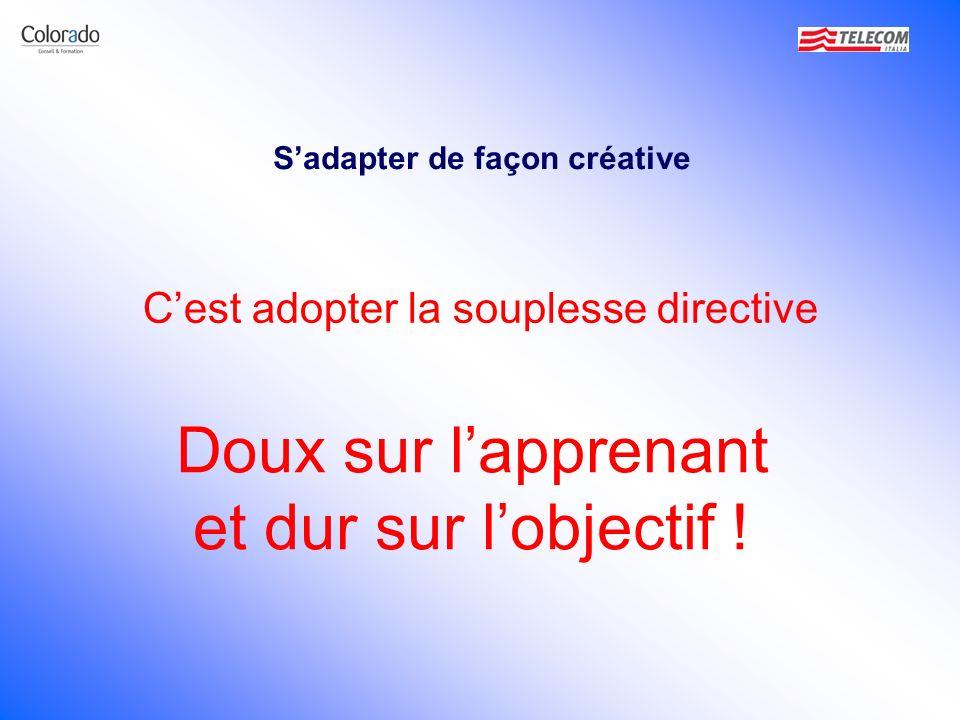 Sadapter de façon créative Cest adopter la souplesse directive Doux sur lapprenant et dur sur lobjectif !