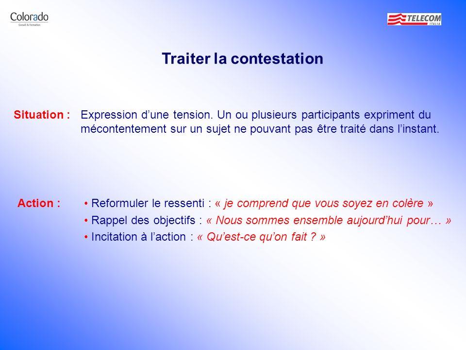 Traiter la contestation Situation :Expression dune tension. Un ou plusieurs participants expriment du mécontentement sur un sujet ne pouvant pas être