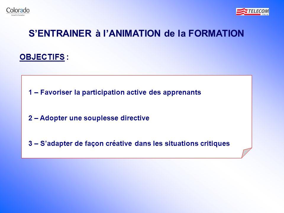 SENTRAINER à lANIMATION de la FORMATION 1 – Favoriser la participation active des apprenants 2 – Adopter une souplesse directive 3 – Sadapter de façon