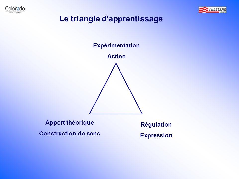 Expérimentation Action Régulation Expression Apport théorique Construction de sens Le triangle dapprentissage