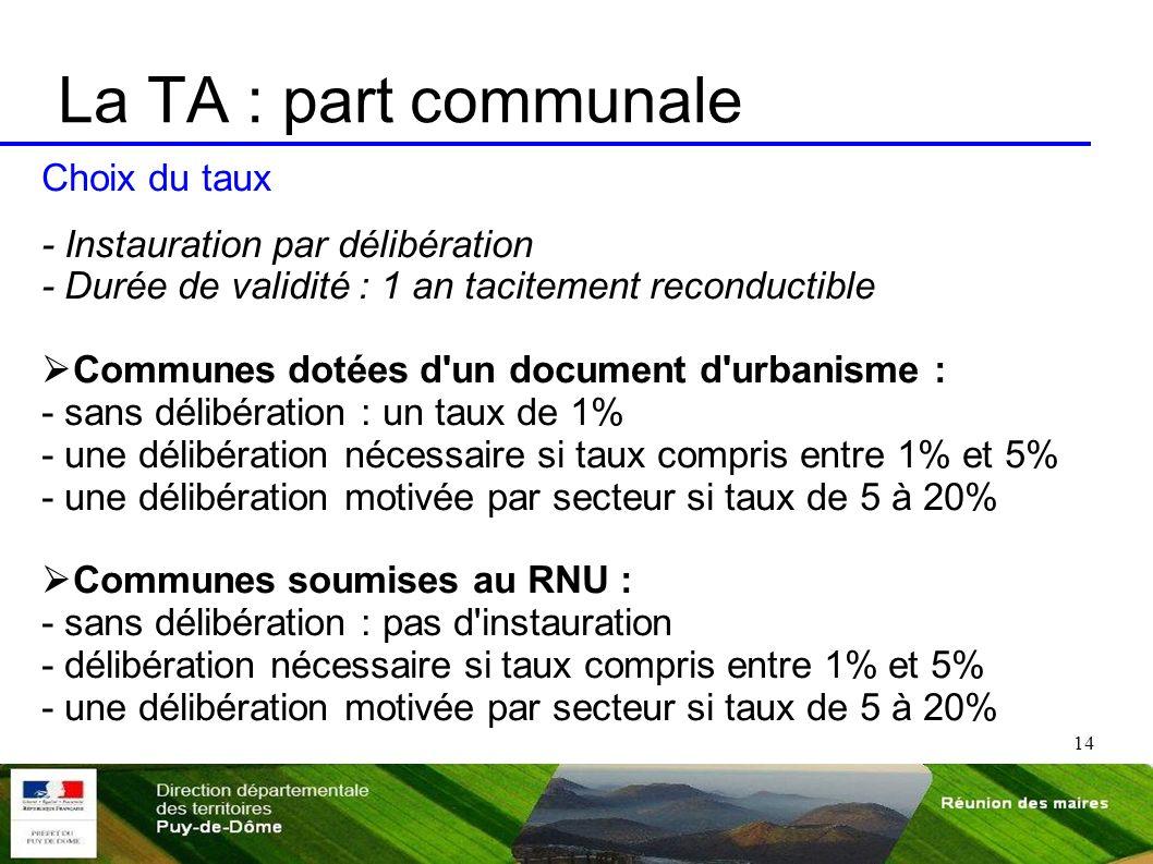 14 La TA : part communale Choix du taux - Instauration par délibération - Durée de validité : 1 an tacitement reconductible Communes dotées d'un docum