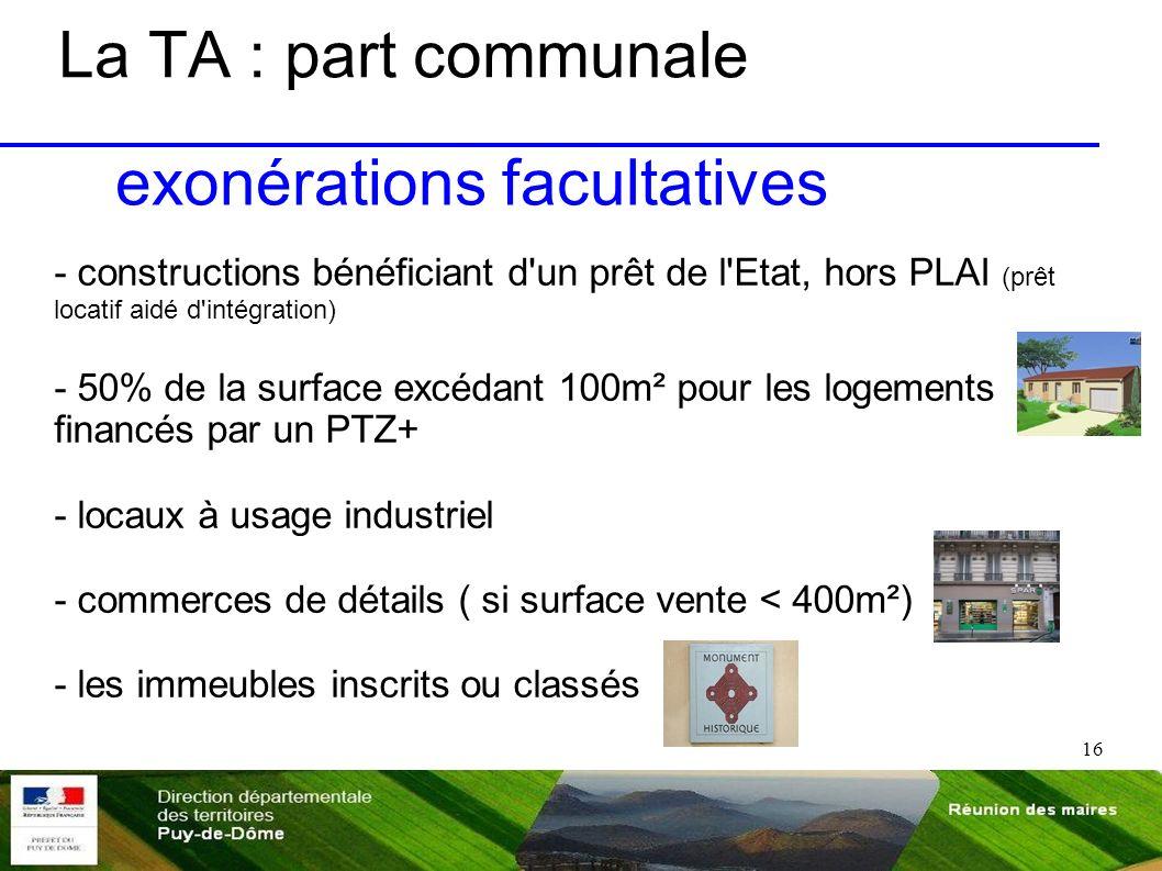 16 La TA : part communale - constructions bénéficiant d'un prêt de l'Etat, hors PLAI (prêt locatif aidé d'intégration) - 50% de la surface excédant 10