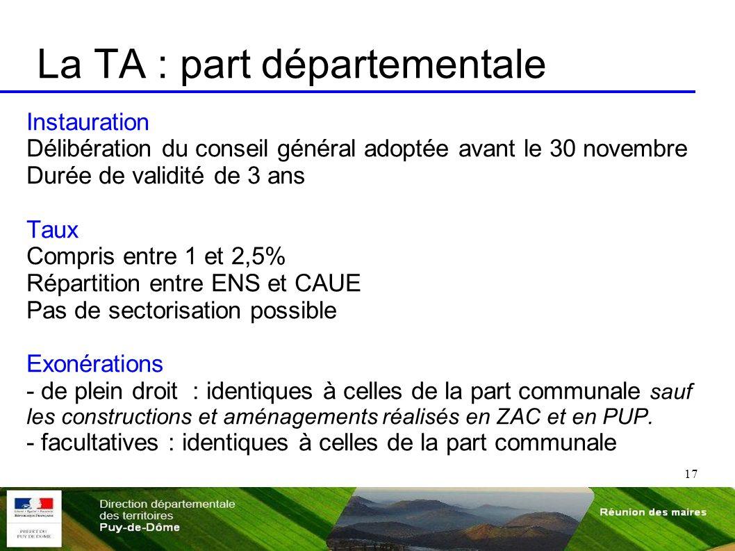 17 La TA : part départementale Instauration Délibération du conseil général adoptée avant le 30 novembre Durée de validité de 3 ans Taux Compris entre