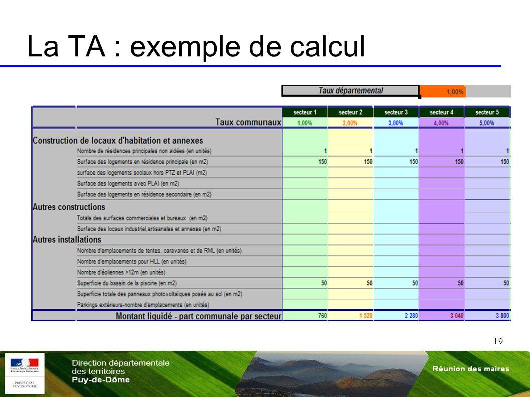 19 La TA : exemple de calcul