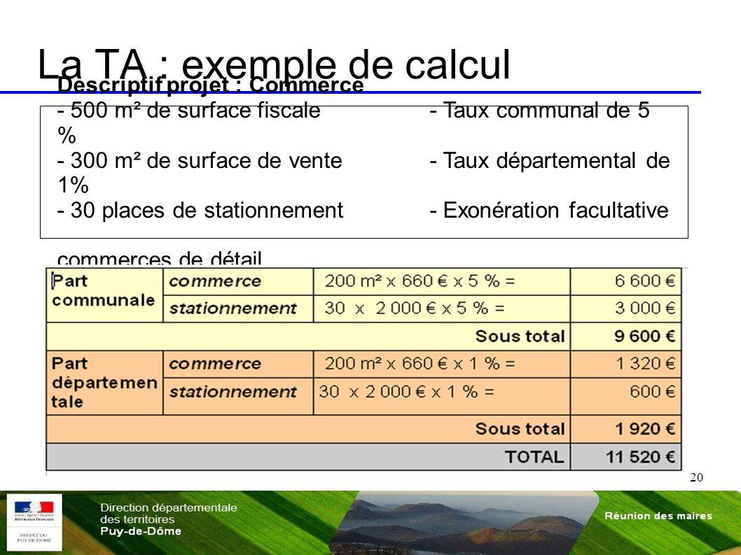 20 La TA : exemple de calcul Descriptif projet : Commerce - 500 m² de surface fiscale- Taux communal de 5 % - 300 m² de surface de vente - Taux départ