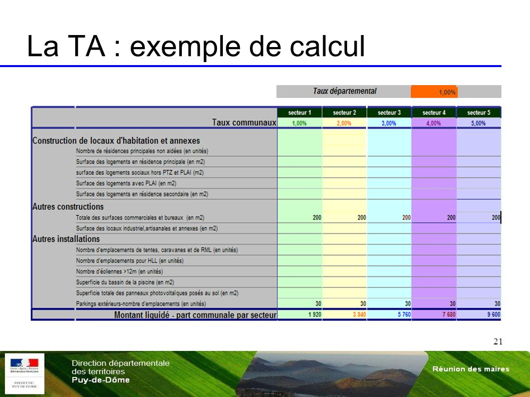 21 La TA : exemple de calcul