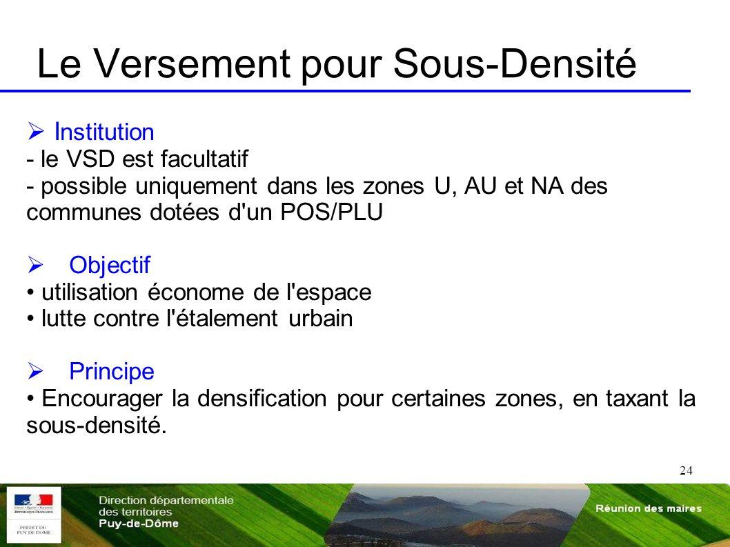 24 Le Versement pour Sous-Densité I nstitution - le VSD est facultatif - possible uniquement dans les zones U, AU et NA des communes dotées d'un POS/P
