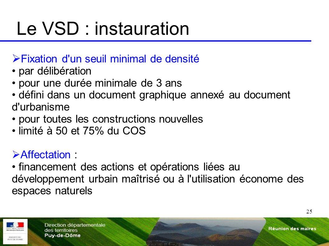 25 Le VSD : instauration Fixation d'un seuil minimal de densité par délibération pour une durée minimale de 3 ans défini dans un document graphique an