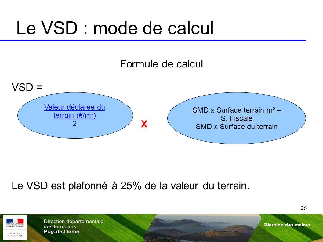 26 Le VSD : mode de calcul Formule de calcul VSD = Le VSD est plafonné à 25% de la valeur du terrain. Valeur déclarée du terrain (/m²) 2 SMD x Surface