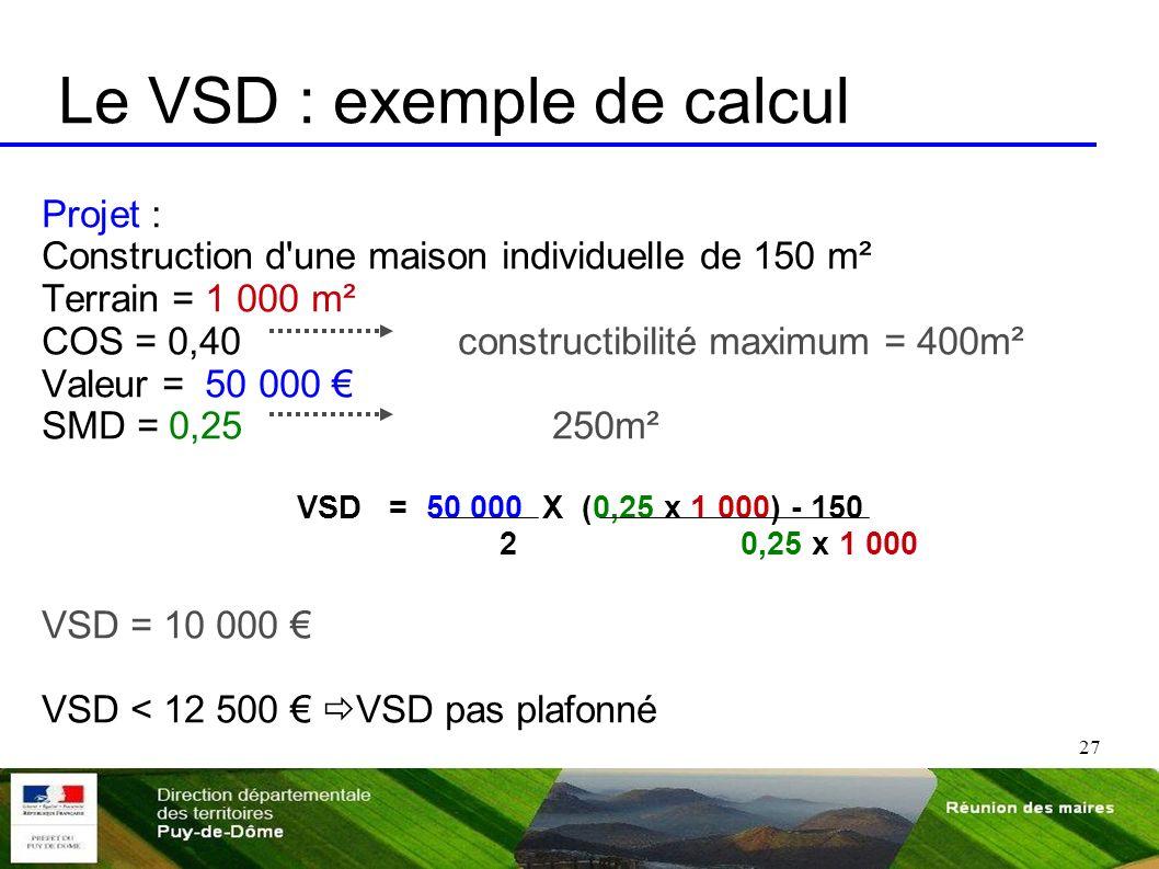 27 Le VSD : exemple de calcul Projet : Construction d'une maison individuelle de 150 m² Terrain = 1 000 m² COS = 0,40 constructibilité maximum = 400m²