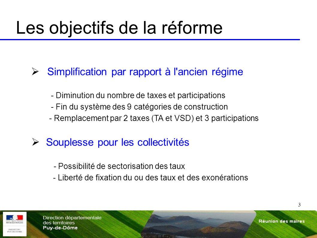 3 Les objectifs de la réforme Simplification par rapport à l'ancien régime - Diminution du nombre de taxes et participations - Fin du système des 9 ca