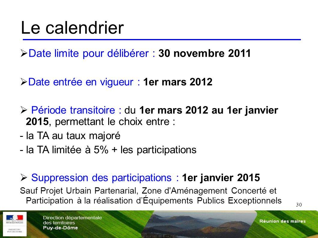 30 Le calendrier Date limite pour délibérer : 30 novembre 2011 Date entrée en vigueur : 1er mars 2012 Période transitoire : du 1er mars 2012 au 1er ja