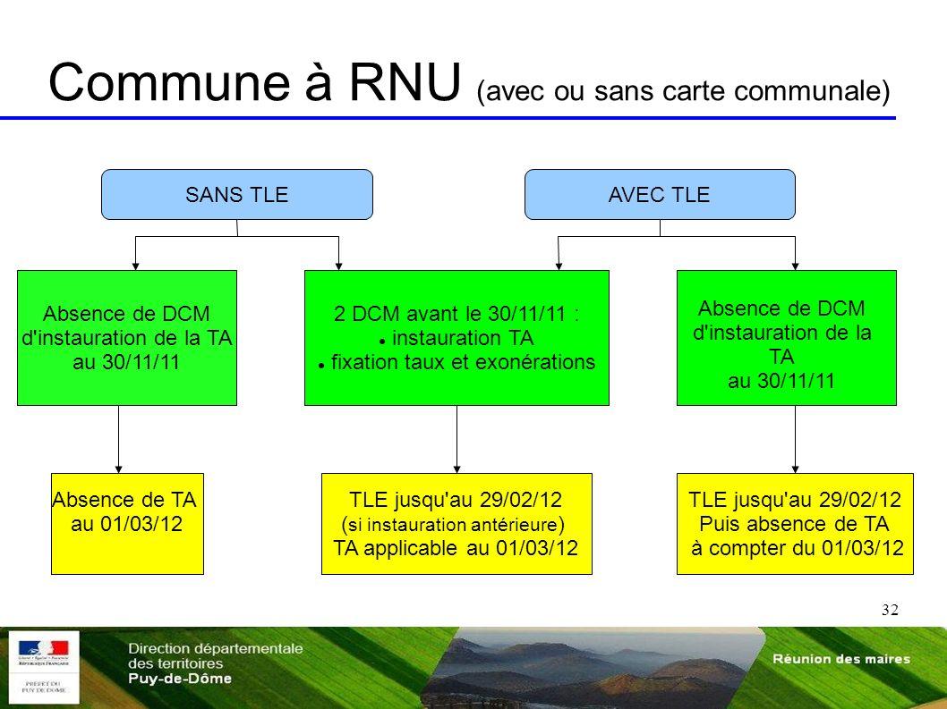 32 Commune à RNU (avec ou sans carte communale) SANS TLEAVEC TLE Absence de DCM d'instauration de la TA au 30/11/11 2 DCM avant le 30/11/11 : instaura