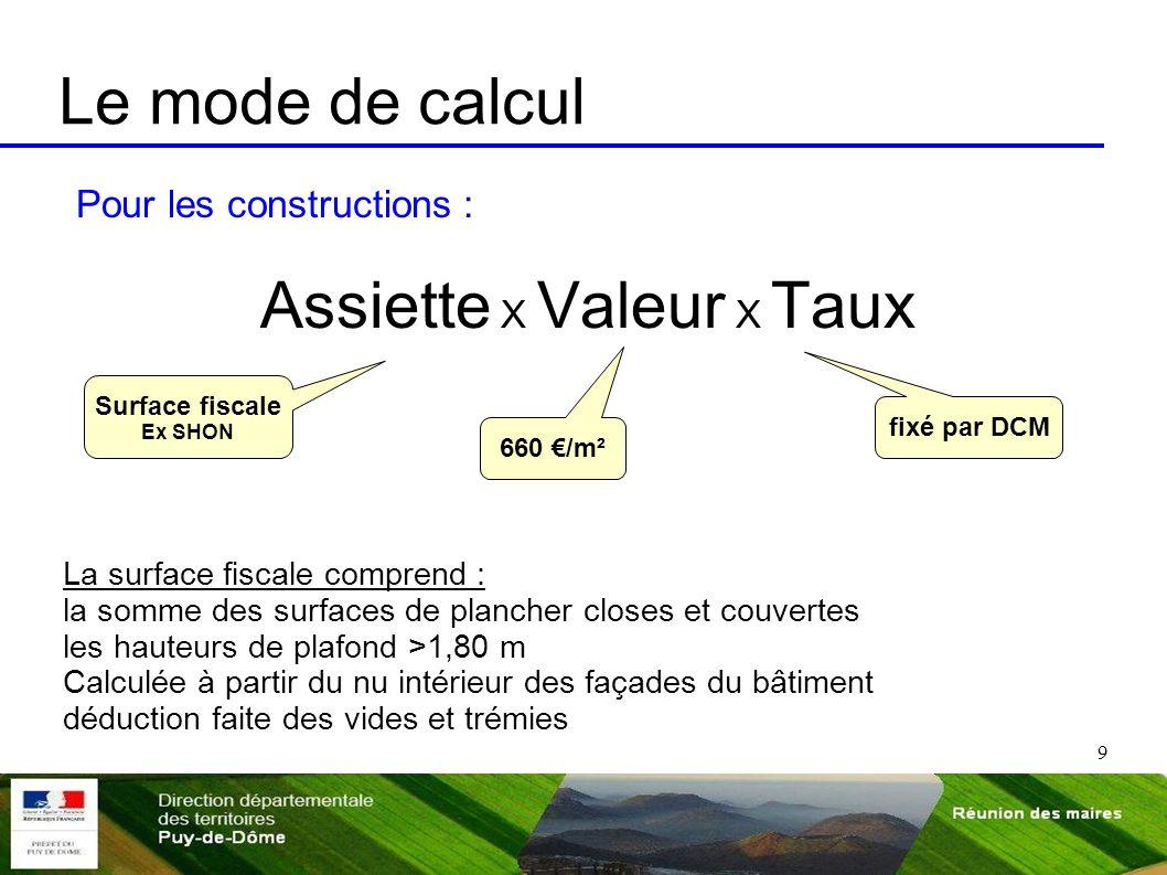 9 Le mode de calcul Pour les constructions : Assiette X Valeur X Taux La surface fiscale comprend : la somme des surfaces de plancher closes et couver
