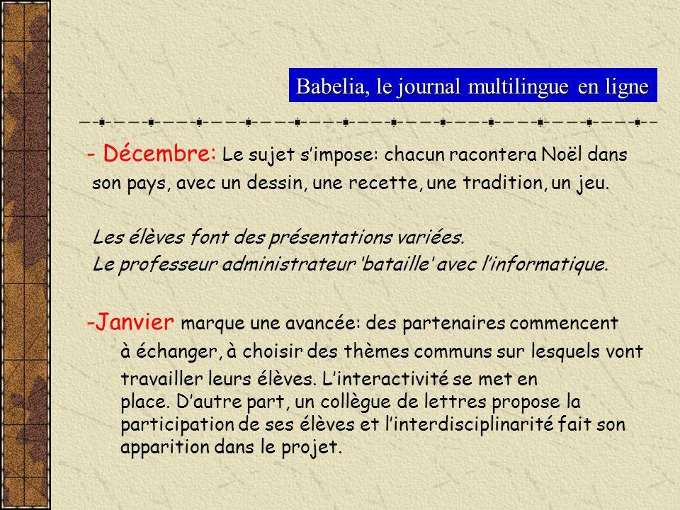 Babelia, le journal multilingue en ligne - Décembre: Le sujet simpose: chacun racontera Noël dans son pays, avec un dessin, une recette, une tradition