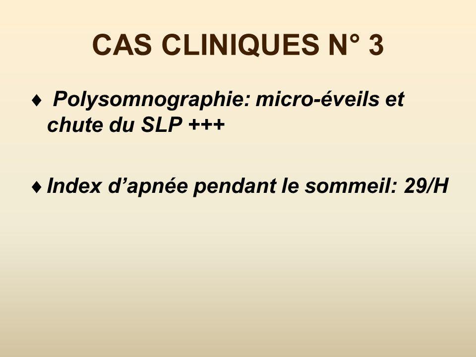 CAS CLINIQUES N° 3 Polygraphie: Index dapnée pendant le sommeil: 15/H