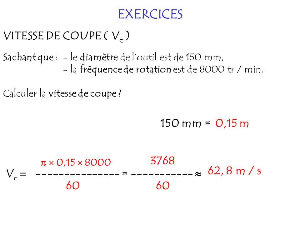 EXERCICES VITESSE DE COUPE ( V c ) Sachant que : - le diamètre de loutil est de 150 mm, - la fréquence de rotation est de 8000 tr / min. Calculer la v