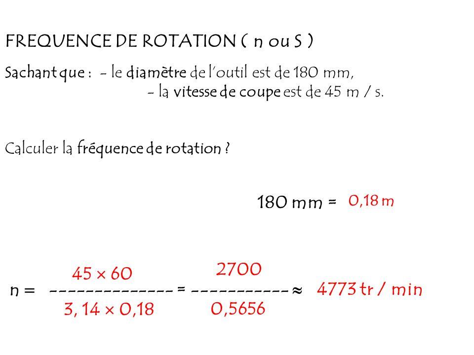 FREQUENCE DE ROTATION ( n ou S ) Sachant que : - le diamètre de loutil est de 180 mm, - la vitesse de coupe est de 45 m / s. Calculer la fréquence de