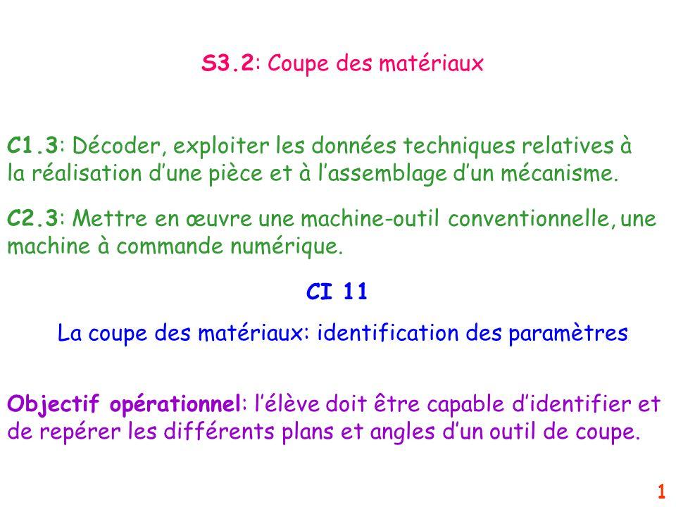 CI 11 La coupe des matériaux: identification des paramètres C1.3: Décoder, exploiter les données techniques relatives à la réalisation dune pièce et à