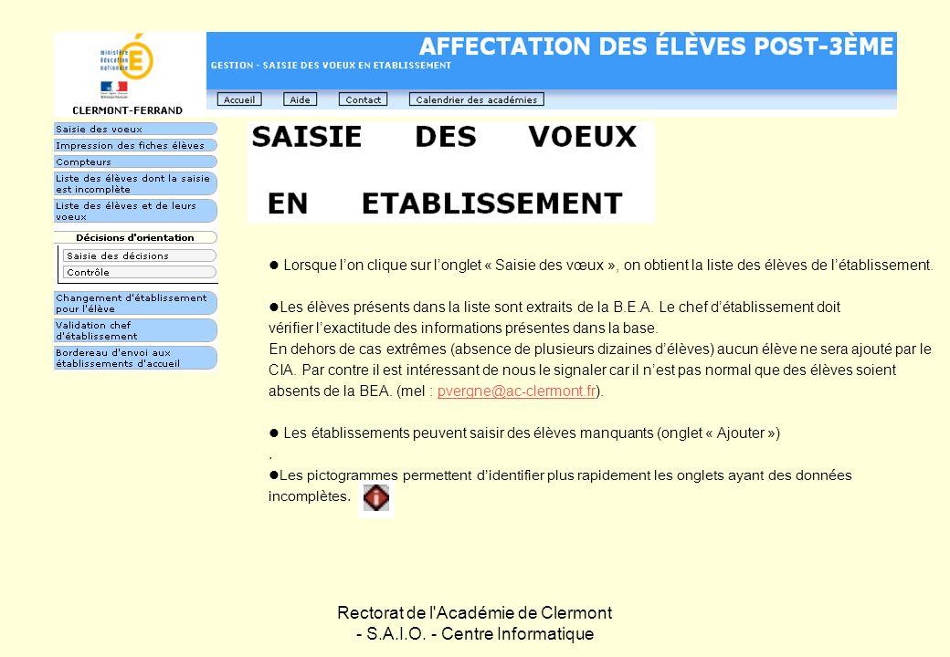 Rectorat de l'Académie de Clermont - S.A.I.O. - Centre Informatique Lorsque lon clique sur longlet « Saisie des vœux », on obtient la liste des élèves