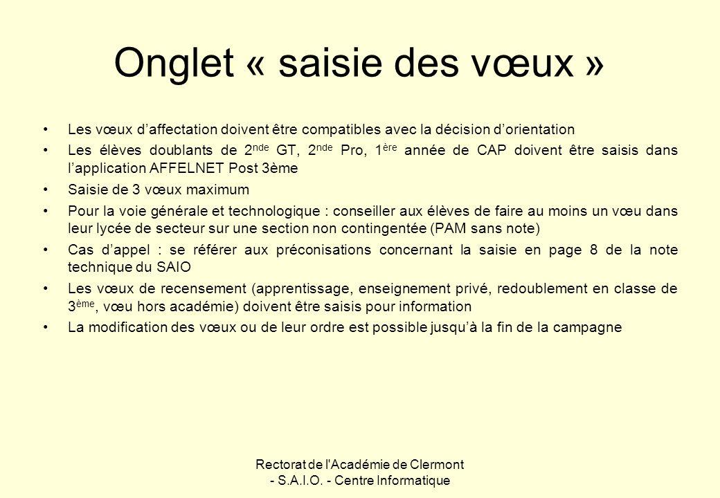 Rectorat de l'Académie de Clermont - S.A.I.O. - Centre Informatique Onglet « saisie des vœux » Les vœux daffectation doivent être compatibles avec la