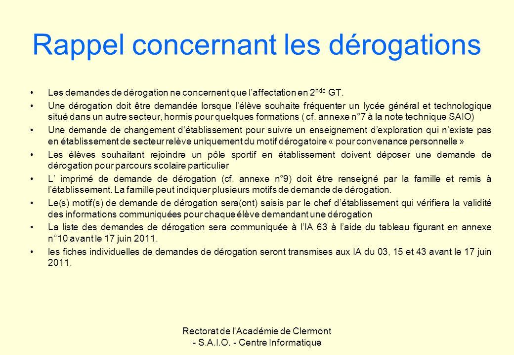 Rectorat de l'Académie de Clermont - S.A.I.O. - Centre Informatique Rappel concernant les dérogations Les demandes de dérogation ne concernent que laf
