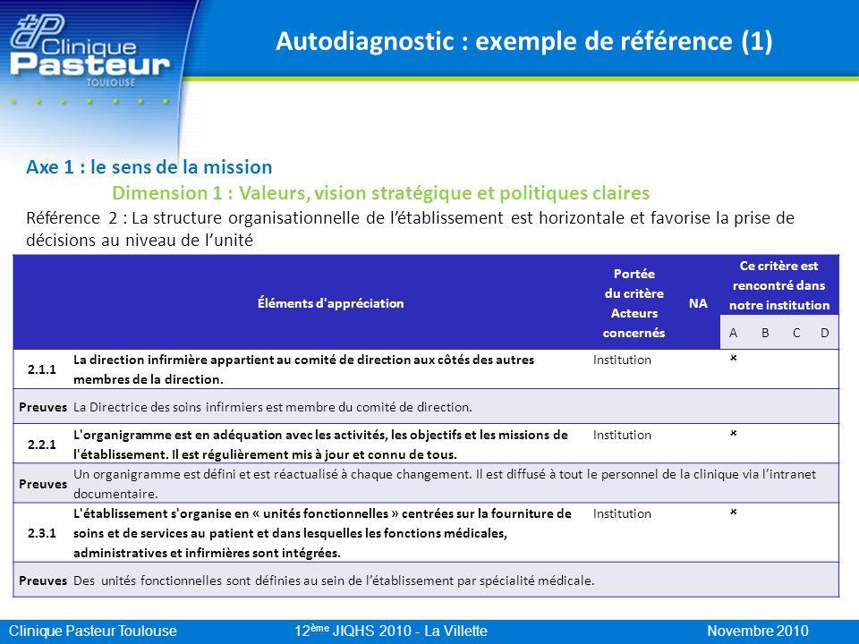 Clinique Pasteur Toulouse 12 ème JIQHS 2010 - La Villette Novembre 2010 Autodiagnostic : exemple de référence (1) Axe 1 : le sens de la mission Dimens