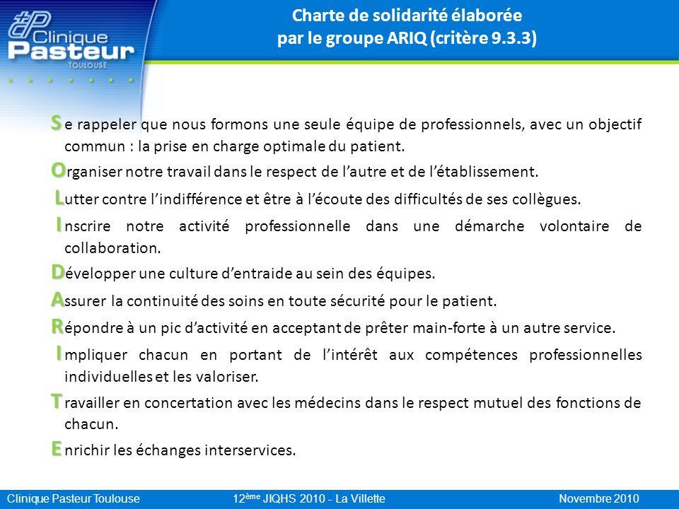 Clinique Pasteur Toulouse 12 ème JIQHS 2010 - La Villette Novembre 2010 Charte de solidarité élaborée par le groupe ARIQ (critère 9.3.3) S S e rappele