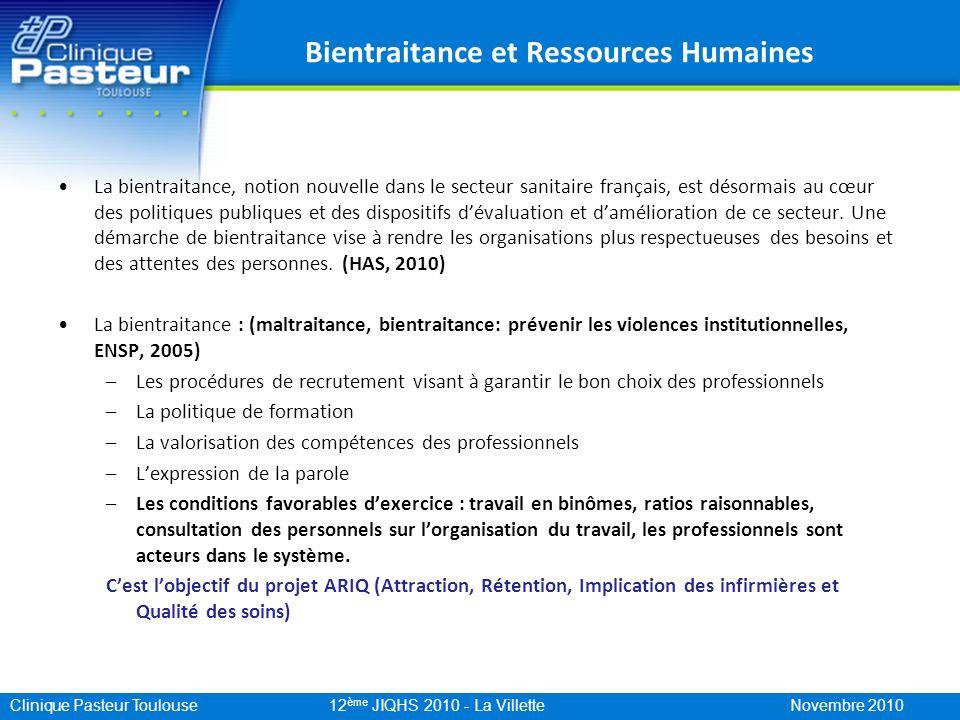 Clinique Pasteur Toulouse 12 ème JIQHS 2010 - La Villette Novembre 2010 Un exemple concret de promotion de la bientraitance en ressources humaines La promotion de la bientraitance sinscrit dans le projet social centré sur la mise en place de conditions favorables de lexercice professionnel.