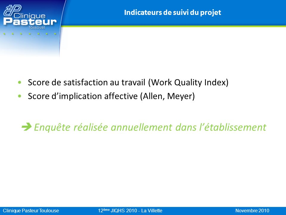 Clinique Pasteur Toulouse 12 ème JIQHS 2010 - La Villette Novembre 2010 Indicateurs de suivi du projet Score de satisfaction au travail (Work Quality