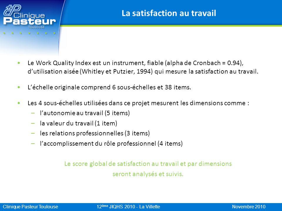 Clinique Pasteur Toulouse 12 ème JIQHS 2010 - La Villette Novembre 2010 La satisfaction au travail Le Work Quality Index est un instrument, fiable (al