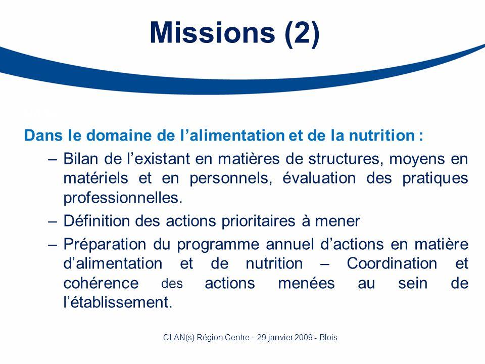 Missions (2) Dans Dans le domaine de lalimentation et de la nutrition : –Bilan de lexistant en matières de structures, moyens en matériels et en perso