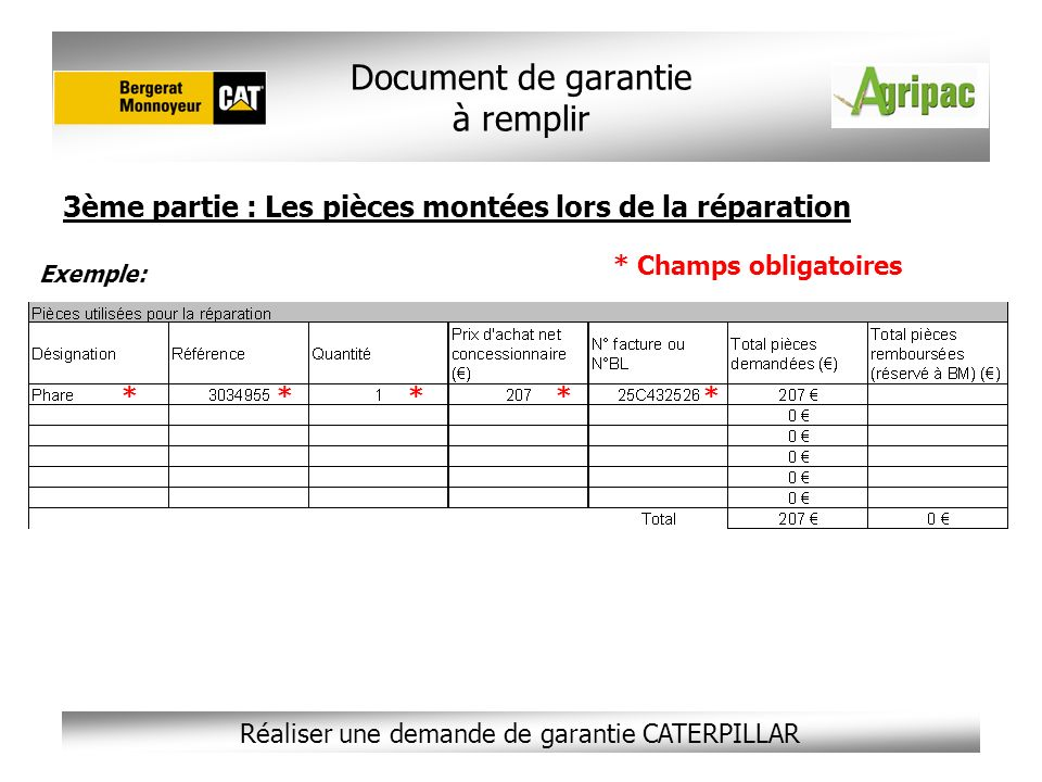 Réaliser une demande de garantie CATERPILLAR 3ème partie : Les pièces montées lors de la réparation Document de garantie à remplir * Champs obligatoir
