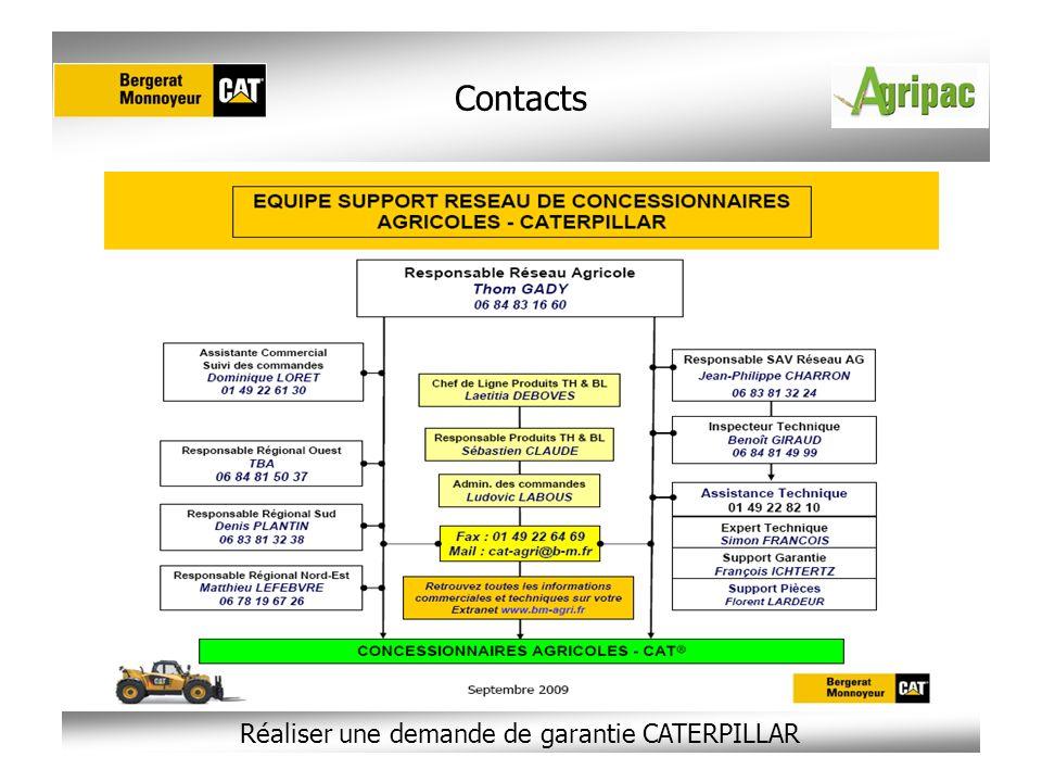 Réaliser une demande de garantie CATERPILLAR Contacts