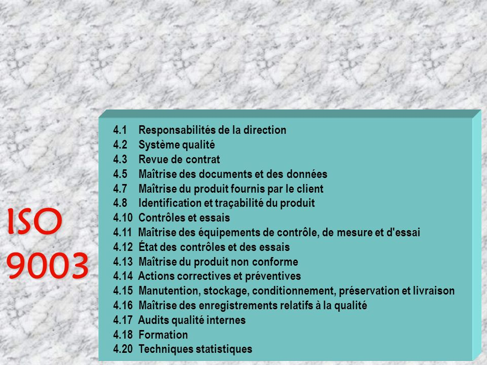 Quelle norme utiliser ? ISO 9003 ISO 9002 ISO 9001 ??????? ?