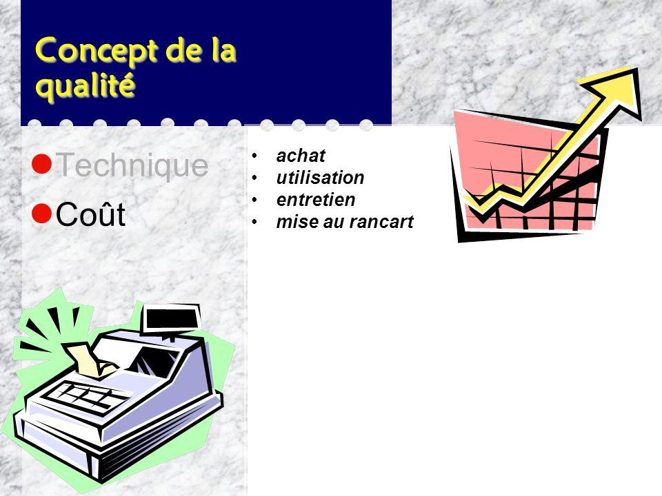 Concept de la qualité Technique dimensionnelles fiabilité durabilité performance esthétique électriques et chimiques facilité d'entretien longévité sé