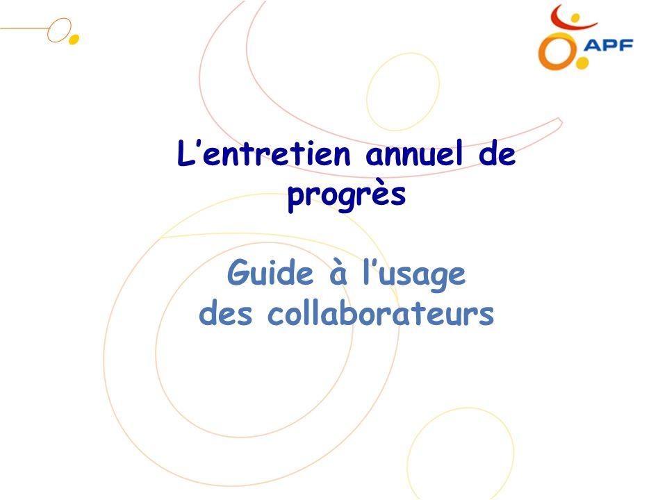 Lentretien annuel de progrès Guide à lusage des collaborateurs