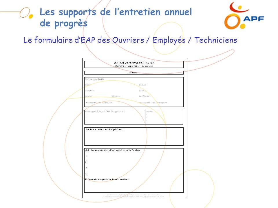 Les supports de lentretien annuel de progrès Le formulaire dEAP des Ouvriers / Employés / Techniciens