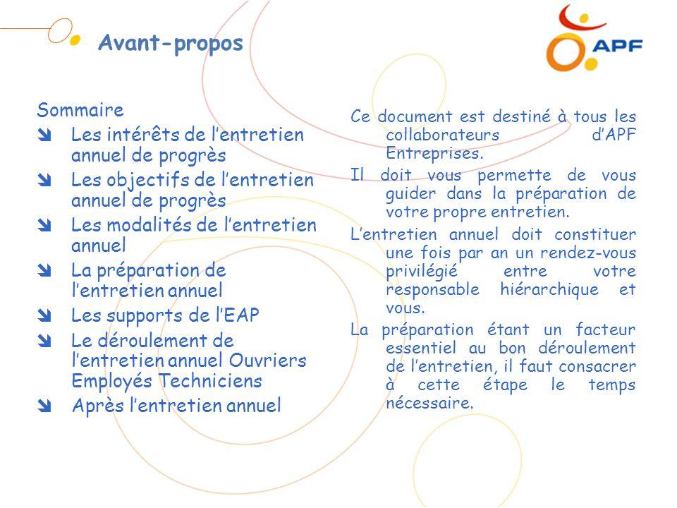 Les supports de lentretien annuel de progrès Le document de préparation de lEAP
